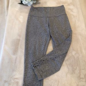 Lululemon Gray Crop Leggings with Cut Out Detail at the Ankle, Size S